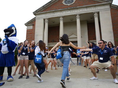 Students receive a warm welcome during New Student Orientation
