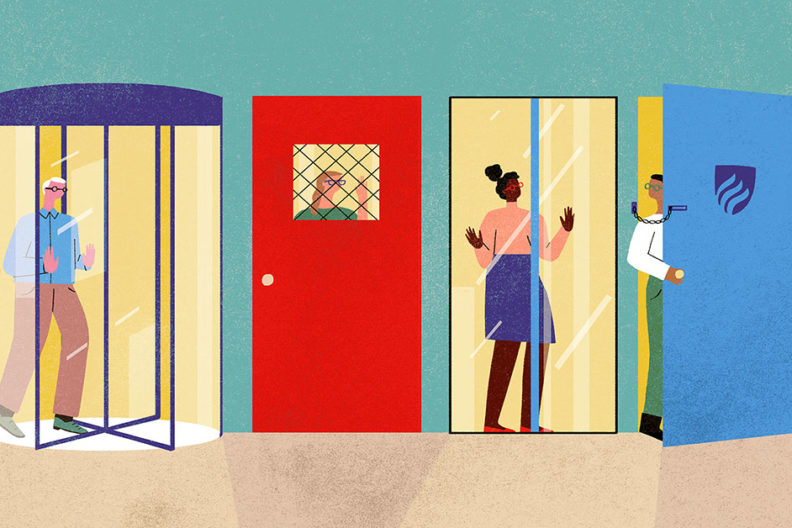 The challenges of teacher retention are represented in this illustration of four different types of doors, with teachers blocked by each one.