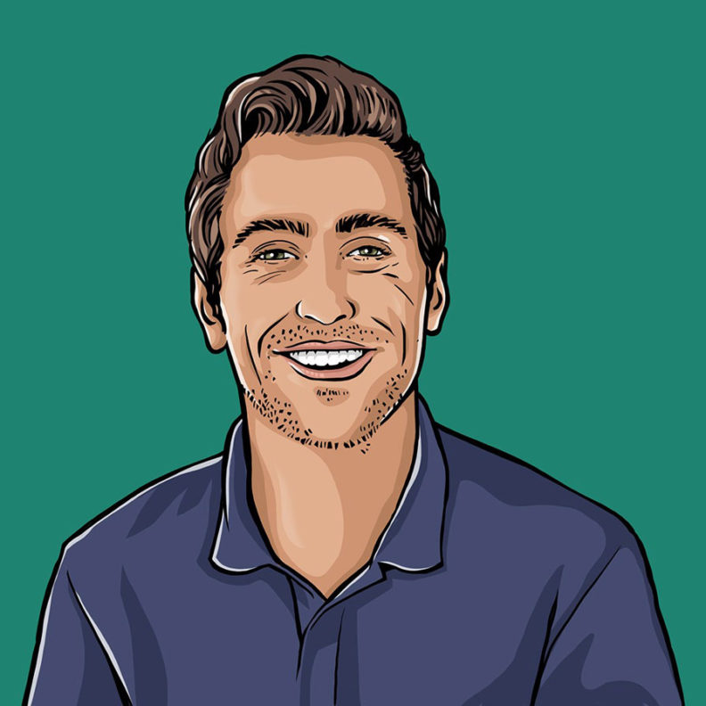 An illustration of Elmhurst University student Thomas Sullivan, against a vibrant green background.