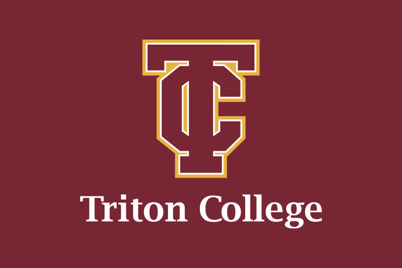 The Triton College logo, on a red background.