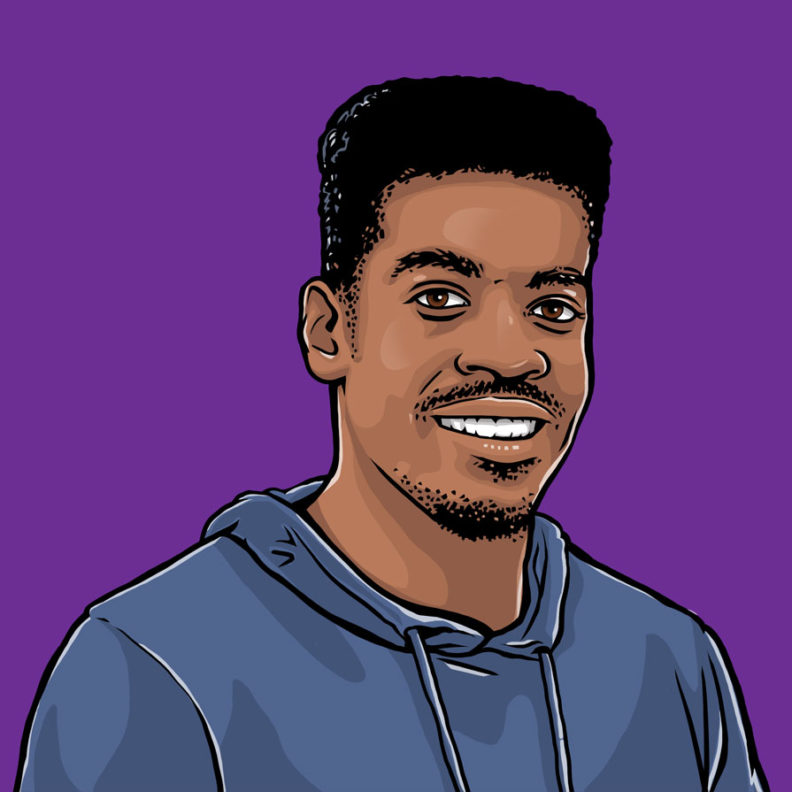 An illustration of Elmhurst University student Will Lyles, against a bright purple background.