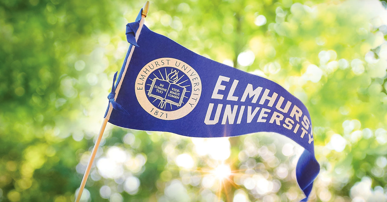 Elmhurst University pennant outside