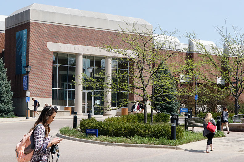 The front of Elmhurst University's A.C. Buehler Library is shown.