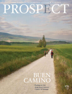 "The ""Buen Camino"" is featured on the cover of the fall 2018 issue of Elmhurst University's Prospect Magazine."