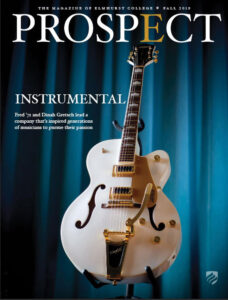 A white Gretsch guitar graces the cover of the Fall 2019 issue of Elmhurst University's Prospect Magazine.