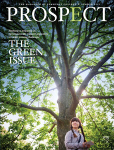 The cover of the Summer 2019 issue of Prospect Magazine features Environmental Studies student Nicolle Omiotek standing beneath a tree on the Elmhurst University campus.