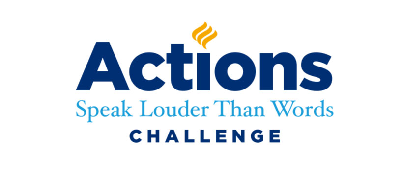 Logo for the Elmhurst University Actions Speak Louder Than Words Challenge
