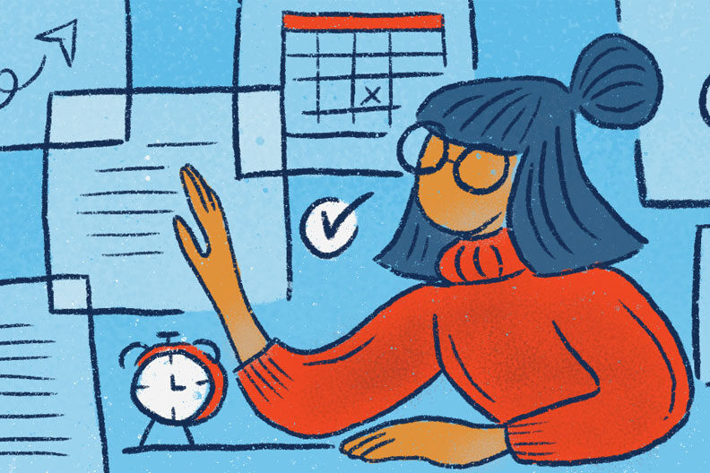 This illustration of a woman at her desk shows how the Agile Project Management method can help you keep projects organized and on-time.