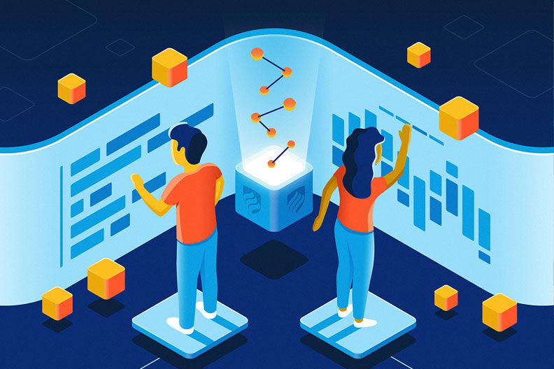 Data science careers in action: Elmhurst University program graduates are getting hired, applying their knowledge and advancing in their careers, as represented by this futuristic illustration.