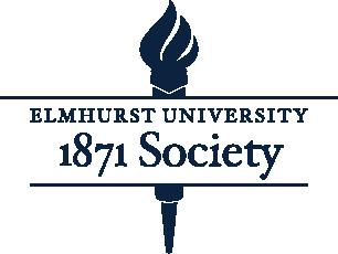 A torch logo for the Elmhurst University 1871 Society.