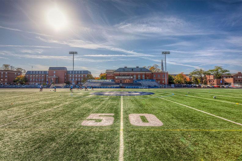 A photo of the 50 yard line at Elmhurst University's Langhorst Field.