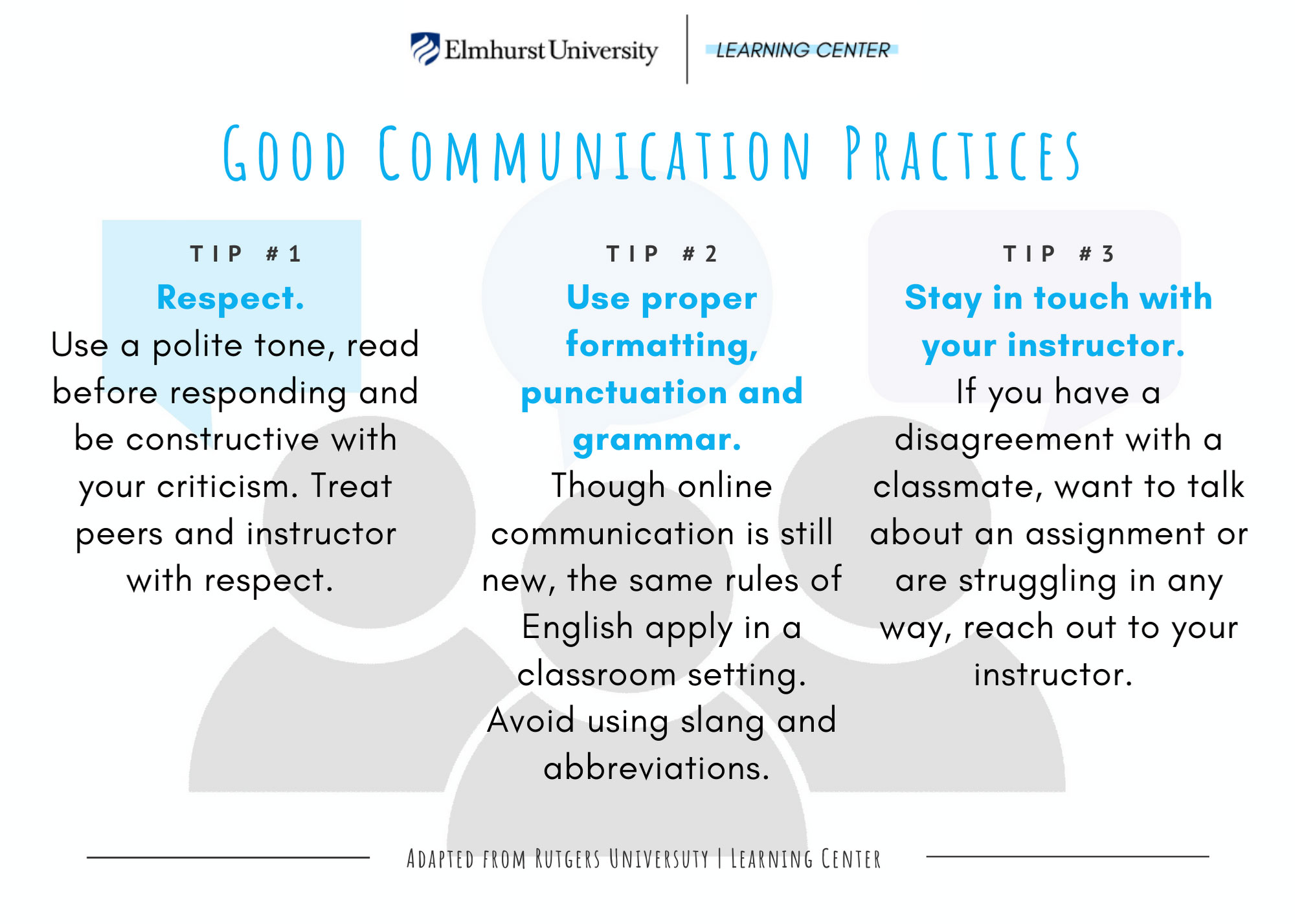 A graphic that lists best practices for communication. Tip 1: Show respect. Tip 2: Use proper formatting and grammar. Tip 3: Stay in touch with your instructor.