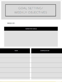 Thumbnail image link to the Goal Setting and Weekly Objectives printable PDF chart.