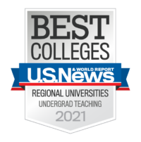 2021 U.S. News and World Report Best Colleges rankings badge for Best Undergrad Teaching among Regional Universities