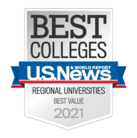 2021 U.S. News and World Report Best Colleges rankings badge for Best Value among Regional Universities