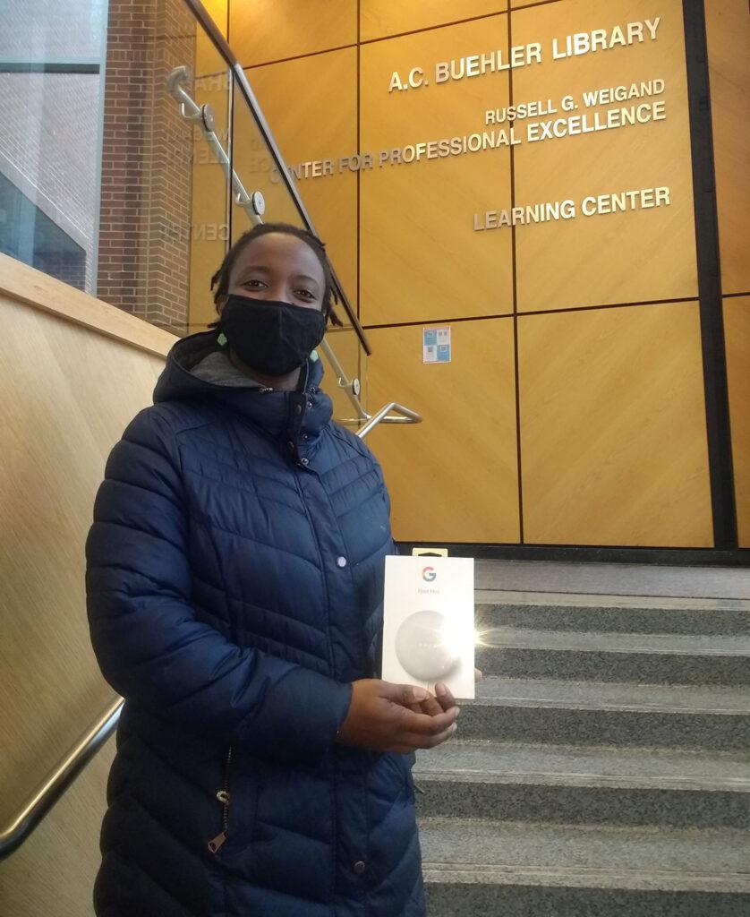 Elmhurst University student Oluwaseyi Adeolu received special recognition for her name idea for the Elmhurst entrepreneurship center.