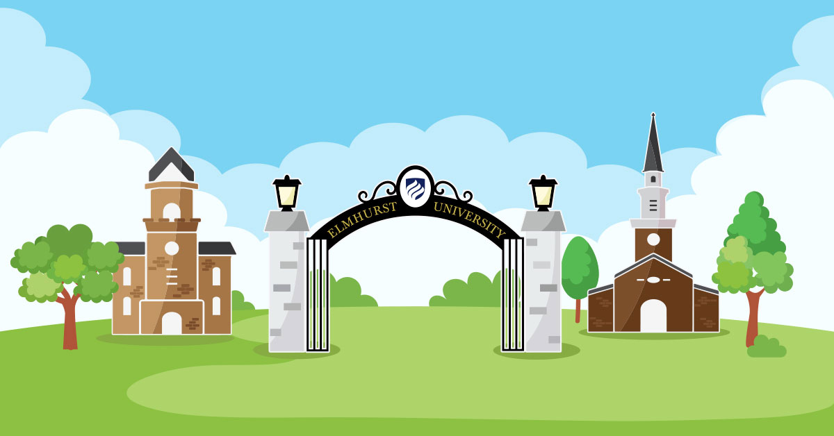 Applying to test optional colleges, such as Elmhurst University shown in this illustration, is a good way to highlight your academic accomplishments without being tied to a test score.