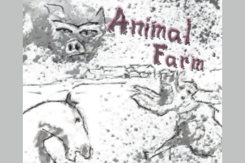 "A sketch of the main characters of George Orwell's ""Animal Farm,"" with the title of the work in the background."