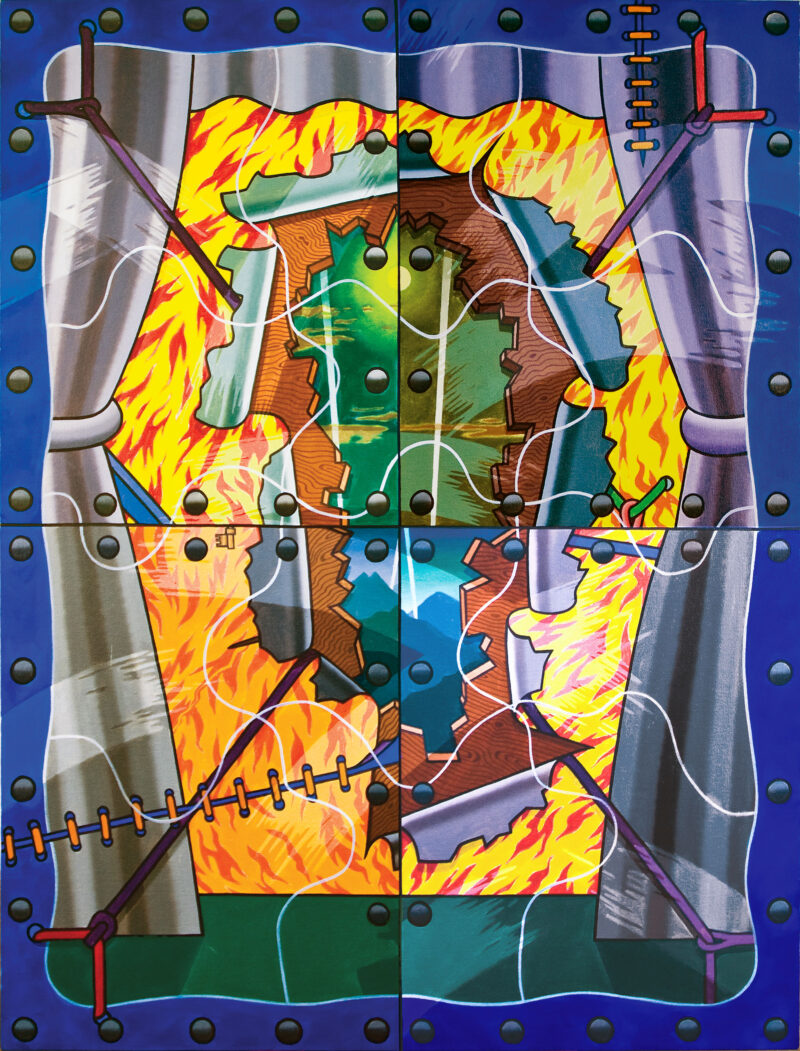 Troubled Sleep, a 1974 painting by Art Green, features a window frame with drawn curtains, revealing four shattered layers of elemental motifs such as fire and blue mountains.