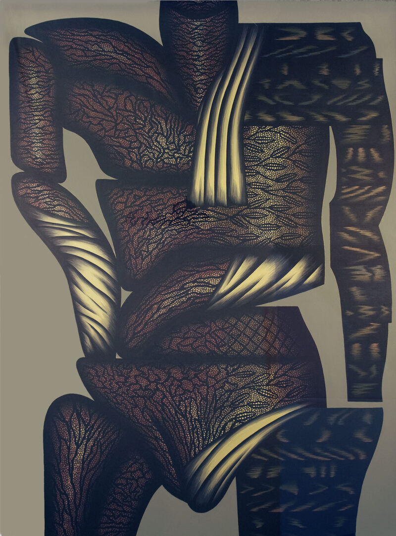 Double Hesitation, a painting by Christina Ramberg, features heavy brown and bronze tones in its abstract depiction of a human torso.