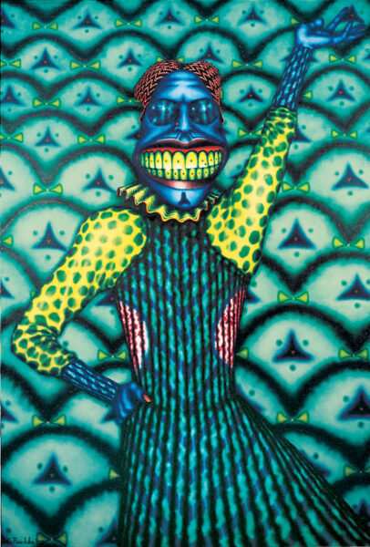 Cobmaster, by Ed Paschke, a 1975 painting that shows a performer with a bright blue face and large teeth.