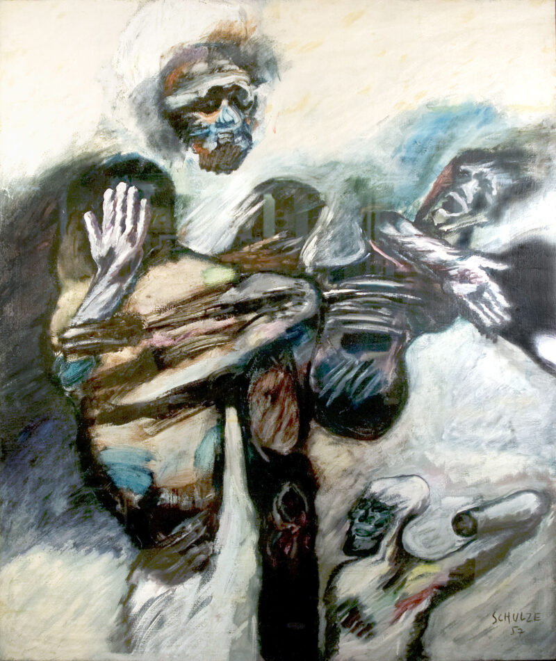 Pieta, a 1957 painting by the art critic Franz Schulze, is his modern interpretation of one of Western art's most famous pieces.