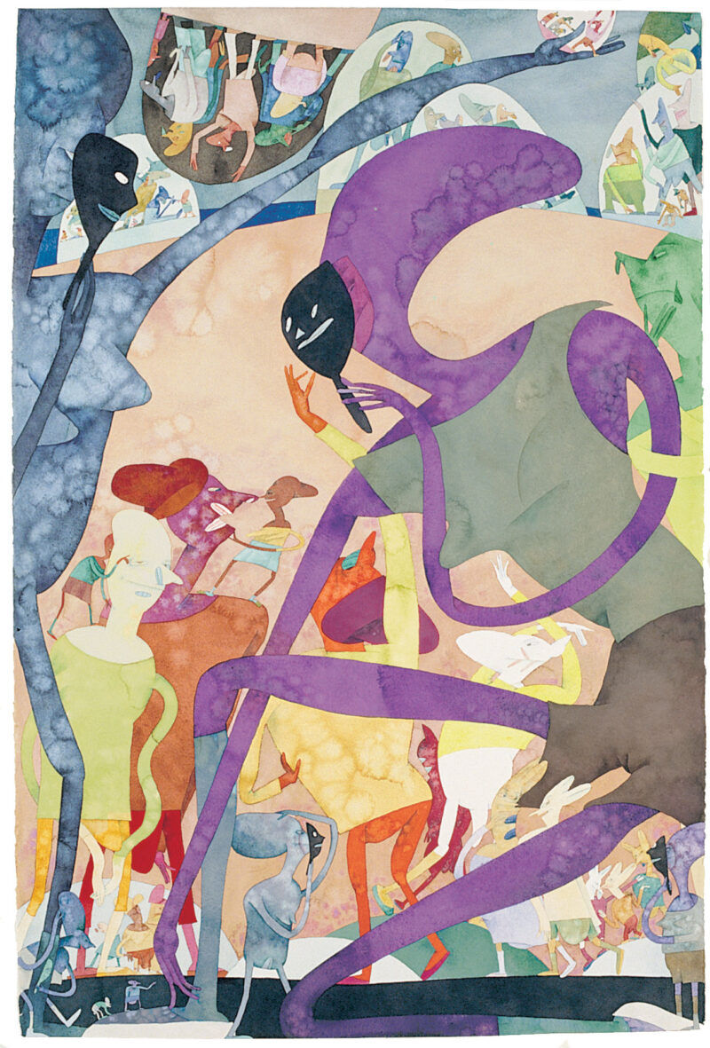 In Vertical Shade, a painting by Gladys Nilsson, uses cool purple, blue and green watercolors to depict characters wearing dark, menacing masks.