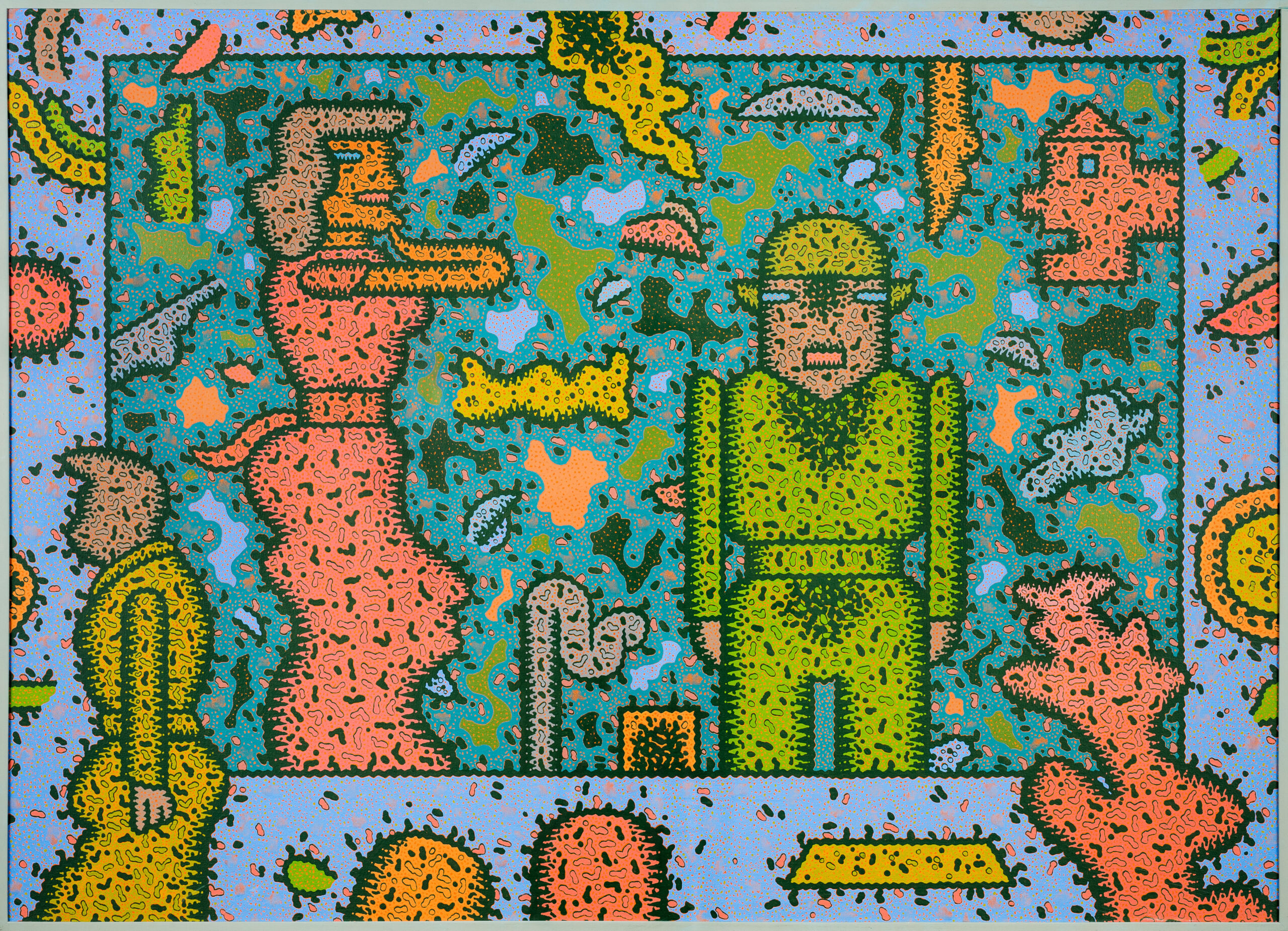 Arbitrary Approach, a 1983 painting by Ray Yoshida, centers on a woman in a pink dress and a man in a bright green space suit..