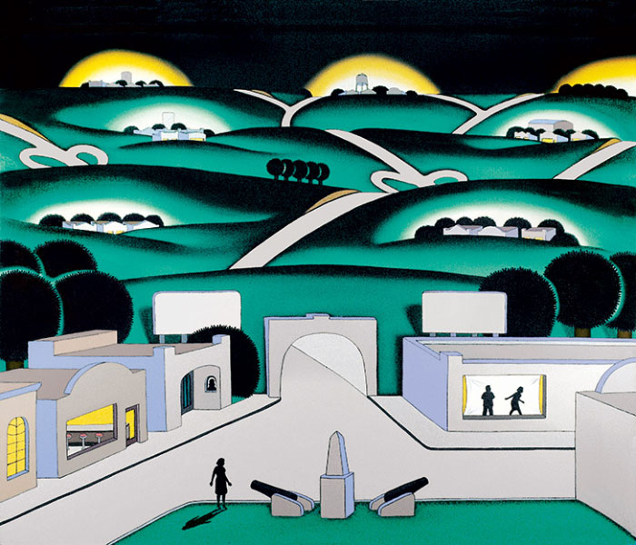 See Seven Cities, a 1971 painting by Roger Brown features seven small cityscapes on rolling green hills, with two silhouetted cannons in a town square in the foreground.