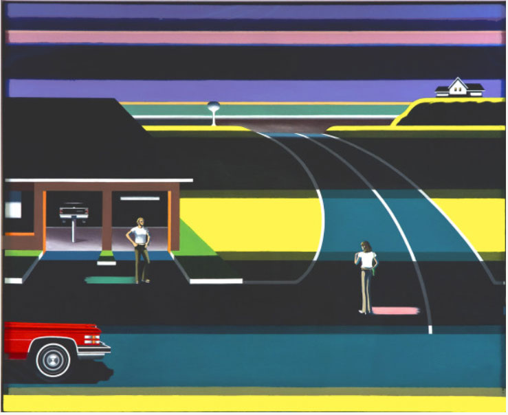 Herb's Texaco III, an oil painting by Sandra Jorgensen, uses the artist's signature geometric lines and bright colors to depict a Texaco gas station.
