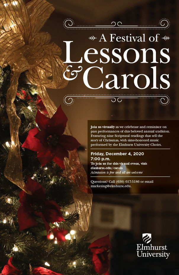 A link to the Elmhurst University Festival of Lessons and Carols 2020 event poster PDF.