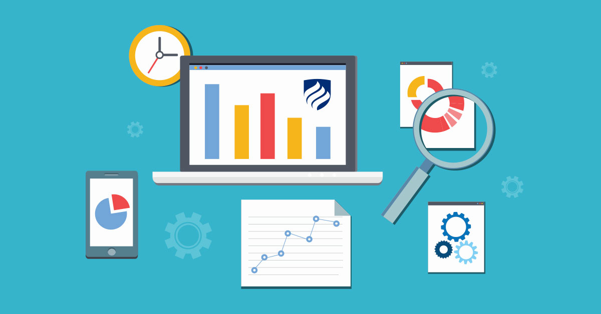 An illustration about some of the differences between program management vs. project management. The illustration features colorful bar graphs, a clock and different charts representing progress.