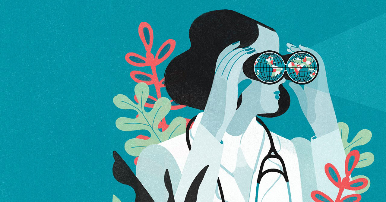 A blue-hued illustration of a woman in medical dress looking into a pair of binoculars. (Cover of Elmhurst University's Prospect magazine.)