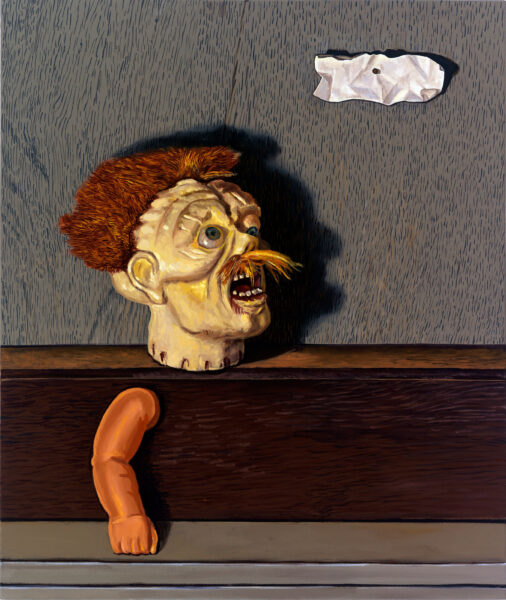Faust, a 2010 painting by Frank Trankina, features a disembodied head and arm emerging from a brown background. The head looks up at a crumpled piece of paper in the air.