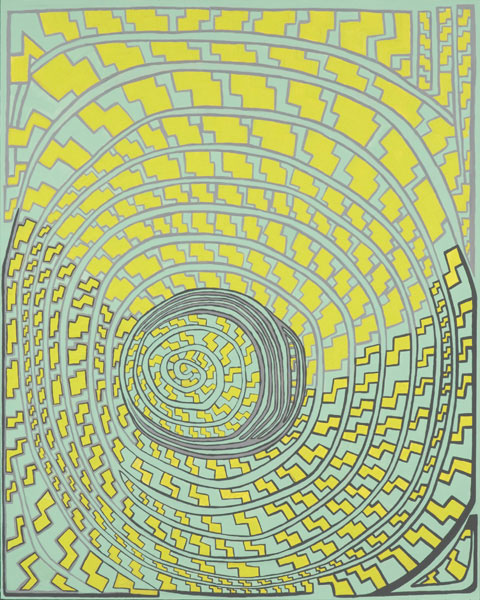 Green Hat HFP3, a painting by Susan Frankel features spiraling yellow geometric shapes on a light background.