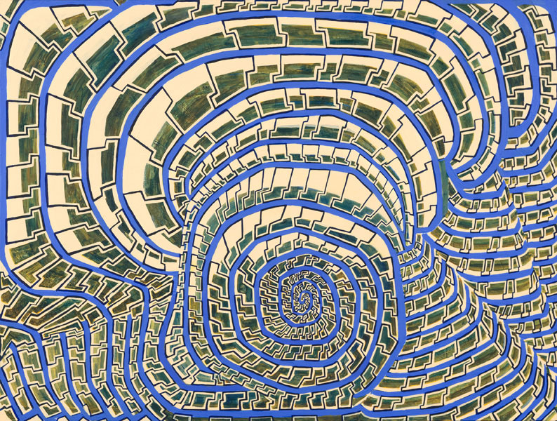 Spiraling Blue Tiles HFP2, a painting by Susan Frankel, features tile-like geometric shapes repeating in serpentine patterns across the work.