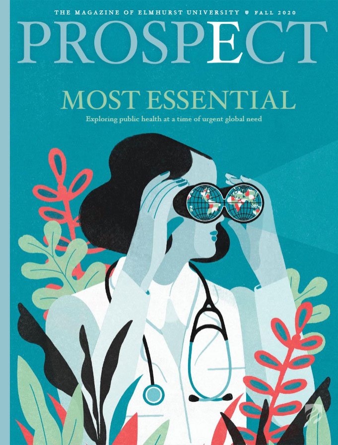 The cover of the Fall 2020 issue of Elmhurst University's Prospect magazine features an illustration of a woman in medical dress looking through a pair of binoculars.