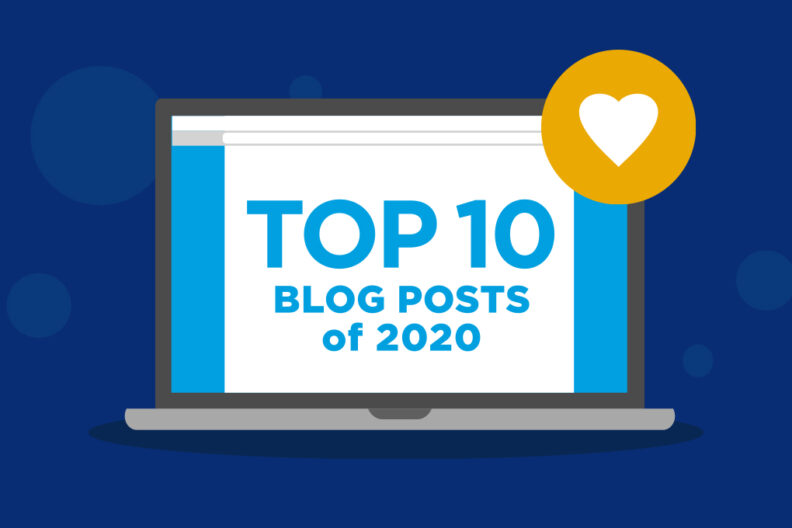 "Illustration of a laptop screen reading ""Top 10 Blog Posts of 2020."""