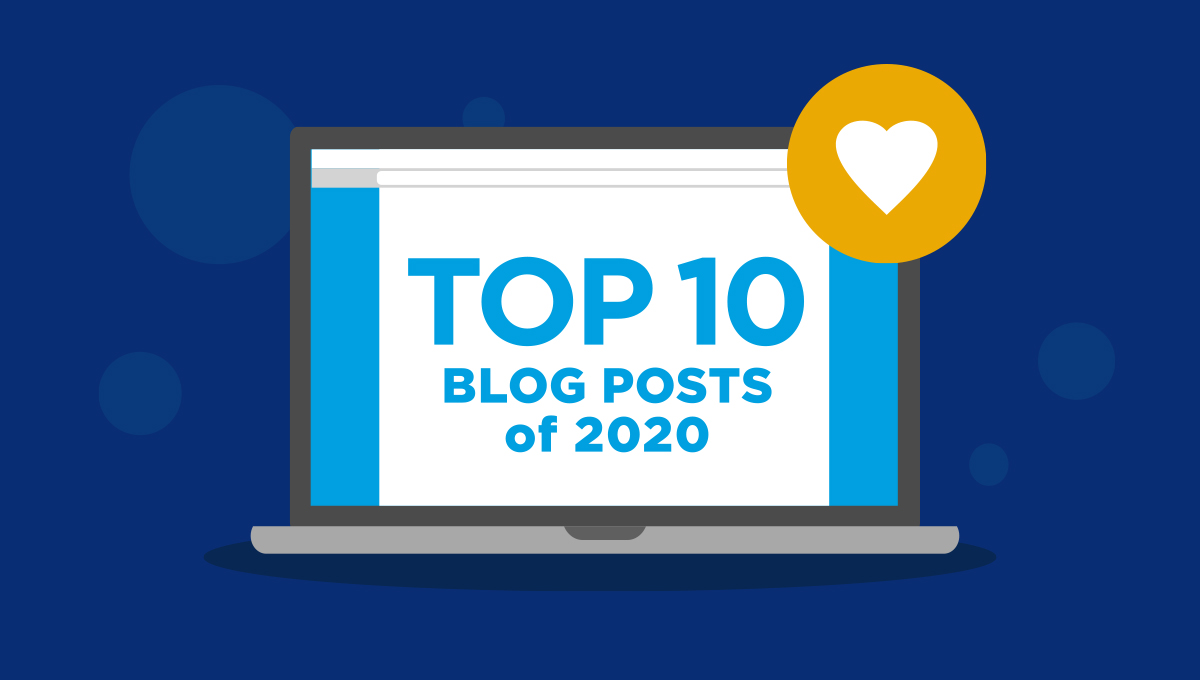 """Illustration of a laptop screen reading """"Top 10 Blog Posts of 2020."""""""