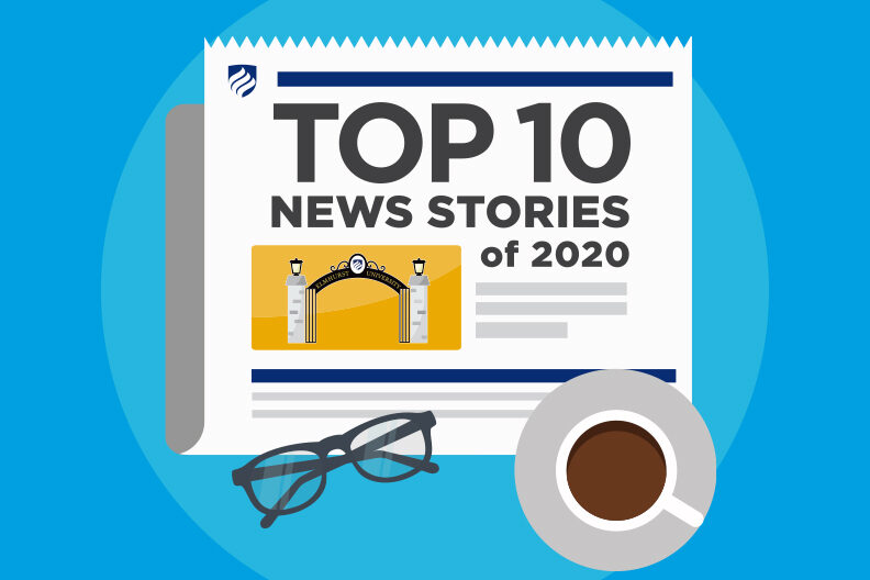 "Illustration of a newspaper reading ""Top 10 News Stories of 2020."""
