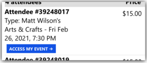 A screenshot of a Brushfire ticket confirmation message in email.