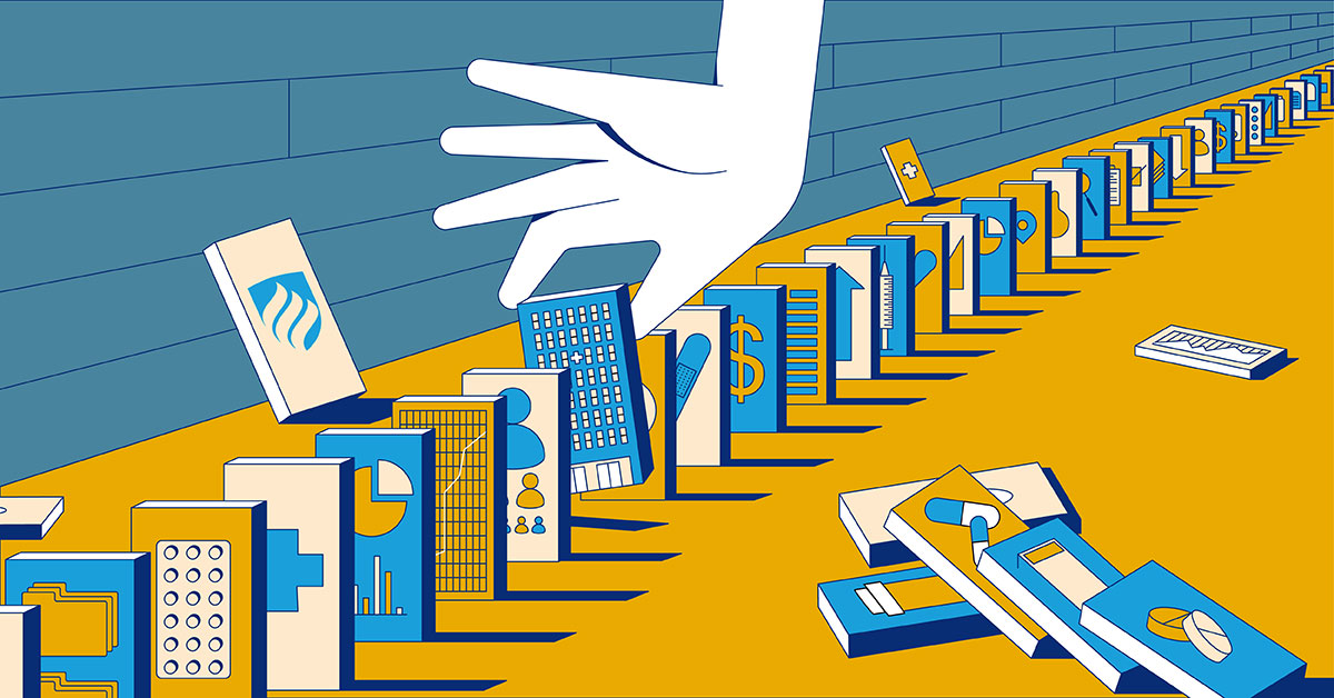In this illustration representing the field of healthcare administration, different aspects of health care are lined up like dominos, with a hand reaching down to pick one of them up.