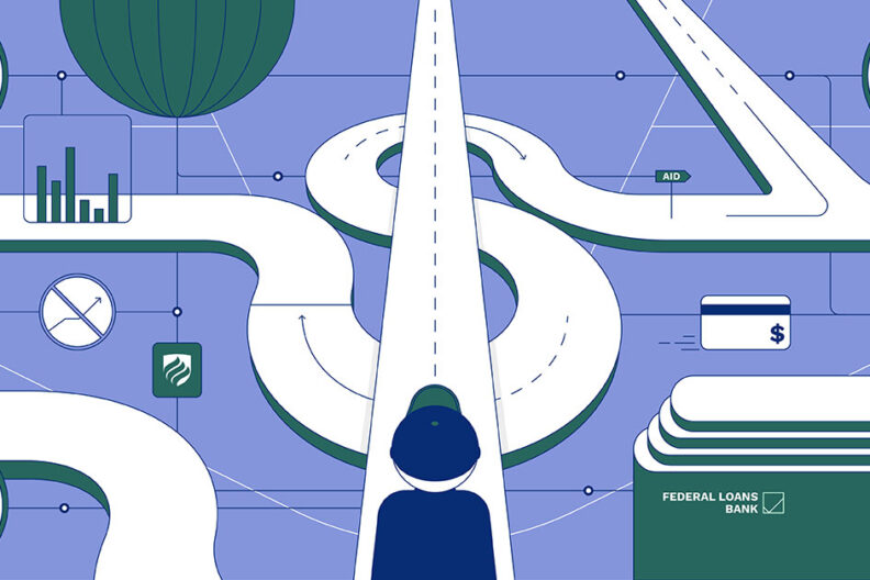 """In this illustration, a college student in a baseball cap looks down a dollar sign-shaped road and wonders, """"How do student loans work?"""""""