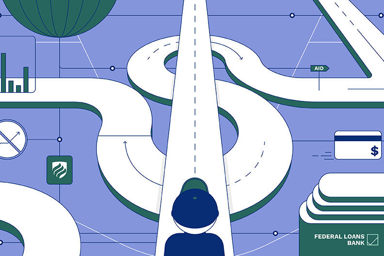 "In this illustration, a college student in a baseball cap looks down a dollar sign-shaped road and wonders, ""How do student loans work?"""