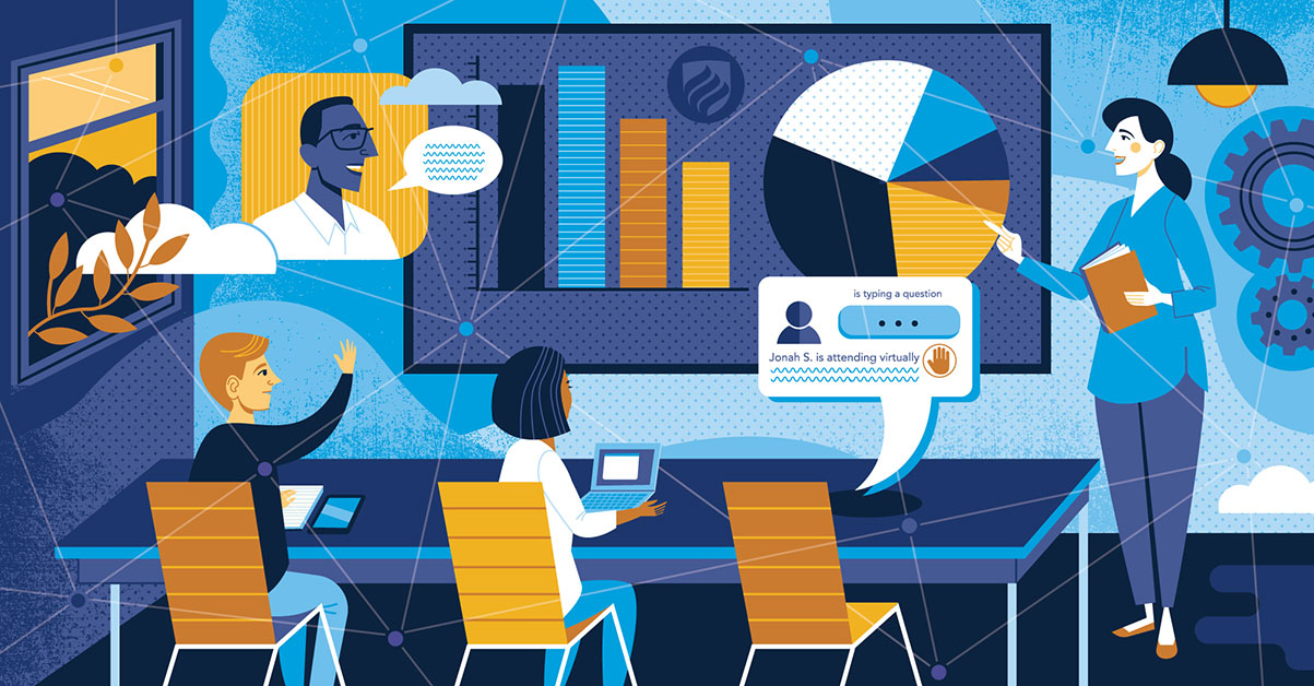 An illustration featuring in-person students and the chat box of a student attending school virtually shows just how important new teaching strategies will be for a permanent return to physical classrooms.