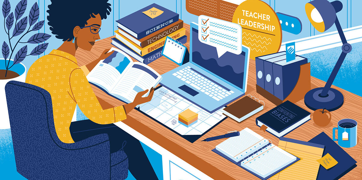 "An illustration of a woman teacher sitting at a desk filled with teacher leadership resources, books and her laptop. The words ""Teacher Leadership"" can be seen in the background."