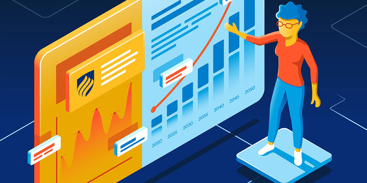 An illustration of a woman wearing red glasses and presenting a series of business forecasts and graphics displayed on a floating board.