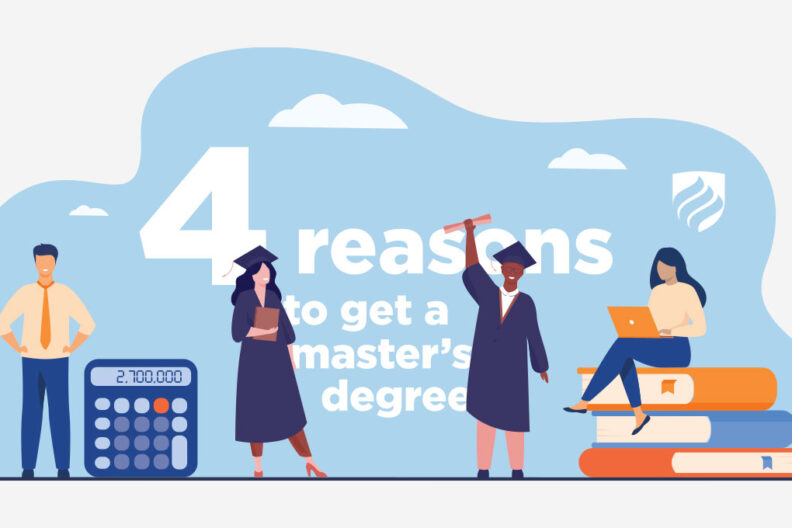 "An illustration of students in their graduation caps and gowns with the words ""4 Reasons to Get a Master's Degree"" in the background."