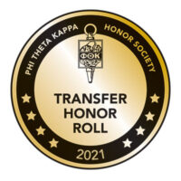 Phi Theta Kappa Honor Society Transfer Honor Roll 2021 badge