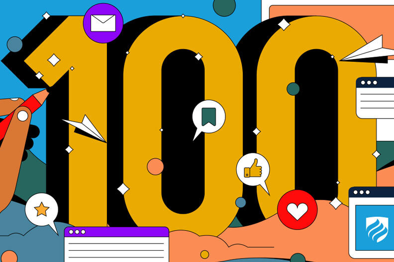Illustration of a large number 100 in honor of one hundred posts on the Elmhurst University Blog.